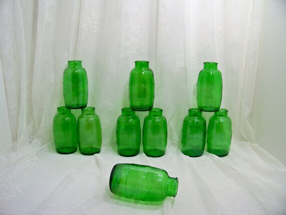 Vintage Green Beer Barrel Glass Bottle Vase Flower Vase