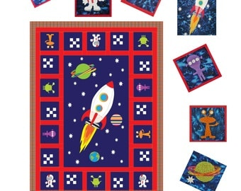 Outer space adventure crib quilt pattern instructions for Outer space quilt patterns