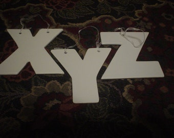 Destash White Block 4 Inch Letters X Y Z,School, Teaching, Letters, Shabby Chic, Victorian, Bohemian,Geometric, Primitive, Findings, Crafts
