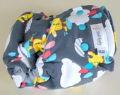 SALE ~ Fitted Diaper in Rain Drops - OS 12lbs-35lbs - turned heather grey cv