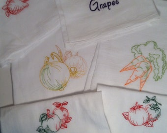 Set of 6 Fruits and Vegetables Tea Towels Flour Sack Towels with Vintage Embroidery Mother's Day Gift