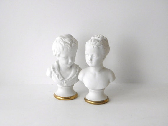Vintage Lefton Bust Pair, Boy and Girl Lefton Heads, Bone China with Gold Rim