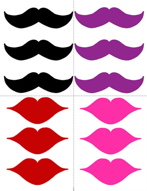 Mustache and Lips Instant Download PRINTABLES for Wedding or
