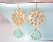 Gold Earrings, Aqua Earrings, Mint Wedding, Bridesmaids Jewelry, Bridesmaid Earrings, Gifts for Her best friend gifts Mint Earrings Dangle