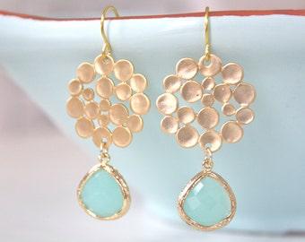 Gold Earrings, Pastel Earrings Mint Earrings, Birthday Gifts, Bridesmaid Earrings, Gifts for Her best friend gifts Light Blue Wedding