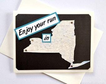 New York - Run (or RAN) That State or Enjoy Your Run in New York - Handmade Running Greeting Card for Marathon, Half-Marathon Runners