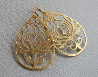 Gold Earrings - Large Gold Bohemian  Earrings- Dangle Earrings - Drop Earrings