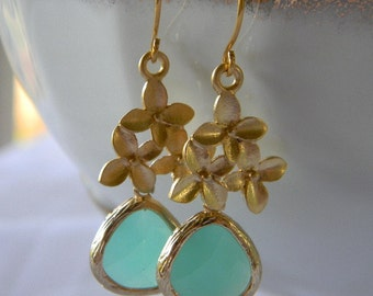Mint Aqua and Gold Cherry Blossom Earrings-Bridal-Bridesmaid Jewelry-Gift For Her