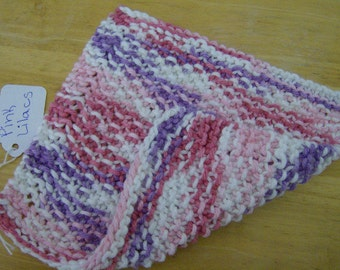 Dishcloth Washcloth Knit 100% Cotton Eco Friendly Hot Pink Purple and White