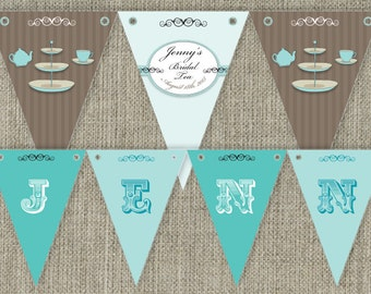 Bridal Shower Tea - High Tea traditional Party Bunting Flags party decorations. Printable. DIY print at home.
