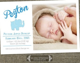 Baby Elephant birth announcement photo cards for baby boy or baby girl. Printable.