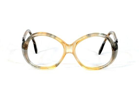 vintage 60s glasses yellow gray plastic tiger stripe 1960 Carita Paris bugeye eyeglasses frames Lucky 7