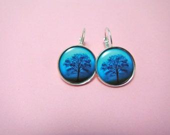 Blue Misty Tree Earrings Round Silver Plated