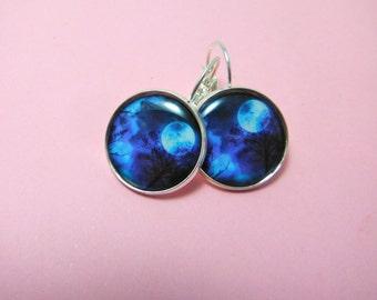 Blue Misty Moon Tree Earrings