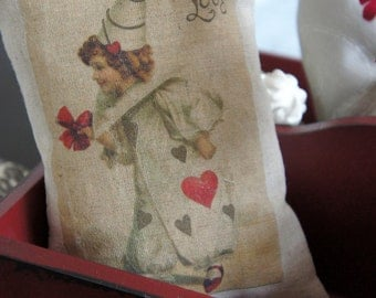 Valentines Mini Pillow - French Clown Vintage Image - Little Girl