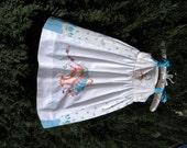 Vintage Linen Blue Dress Size 4 to 5