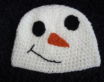 Crochet snowman snow-woman hat