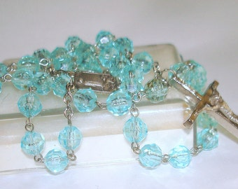 Aqua Blue Glass Bead Rosary Vintage From St. Peter's Rome Roma Italy with Our Lady of Fatima Medal Savelli Art