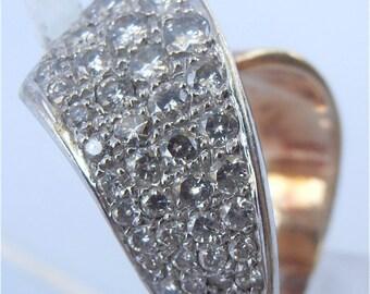 Vintage Diamond Ring Diamond Studded Ring Gold Ring Gold Ribbon Ring Diamond Twist Ring Vtg Diamond Pave Ring Ladies Ring Size 6.5 Size 7