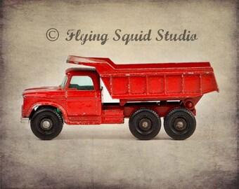 Vintage Red Matchbox Dump Truck - 10x 8 Photographic Print - Boy's Room Decor, Child's Bedroom Art, Nursery Decor
