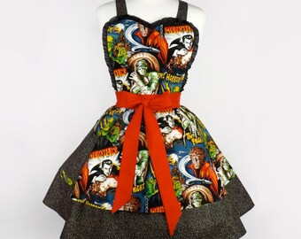 Monsters Two Tier   Dress Apron / Hollywood Horror Movie Rockabilly Apron
