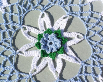 Blue Wild Rose Crocheted Doily
