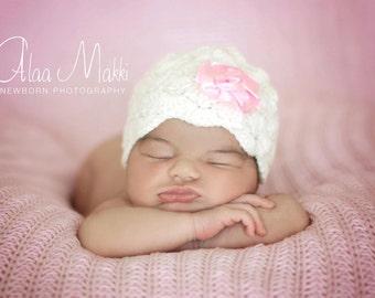 Newborn photo prop, Beanie with flower, photography props, newborn hat, newborn girl, newborn knit hat