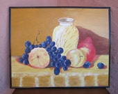 Abstract acrylic painting of vase with purple grapes, pear, and peaches.