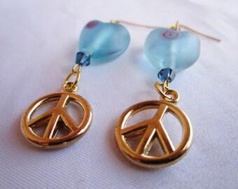 Heart and Peace handmade murano and acrylic peace beaded dangle fashion style earrings