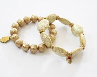 Hamsa bracelet, gold hamsa bracelet, evil eye bracelet, Beaded hamsa bracelet