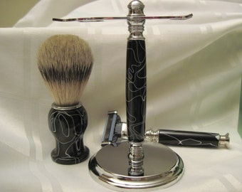 Shave Set,  Black and White Handturned Acrylic, Deluxe Shave Stand, Silver Tip Badger Hair Shave Brush and Gillette Mach 3 Razor Handle