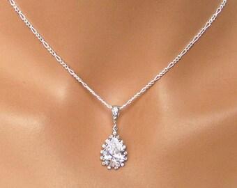 Crystal Bridal Necklace, Rhinestone Bridal Jewelry, Bridesmaids Pendant, Wedding Jewelry, Crysta Drop Wedding Pendant