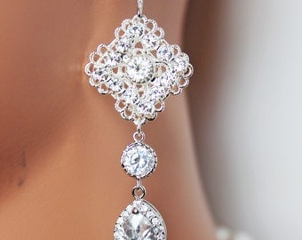 Crystal and Rhinestone Wedding Earrings, Bridal Earrings, Crystal Drop Bridesmaid Earrings, Mother of the Bride