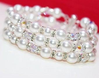 Crystal Cuff Bracelet, Swarovski pearls crystals, 3 strand cuff bracelet, Wedding Bracelet, Vintage style