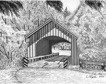North Yachats Covered Bridge - 11 x 14 Matted Print