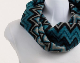 Woolly Chevron Infinity Scarf -Shades of Aqua, Torquoise, Light Gray and Black in a Zig Zag Design ~ WL019-S1