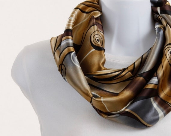 Infinity Scarf - Brown Soft Blue gray and Black