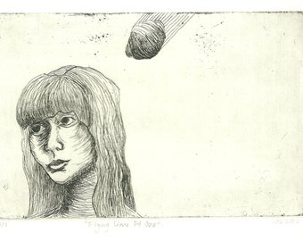"""Quirky Intaglio Etching """"Flying Lime Pt One"""""""