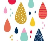"Colorful raindrops 5""x7"" print by Let's Die Friends drips"