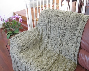 Ready-Made Knit Afghan---Exquisite in Taupe