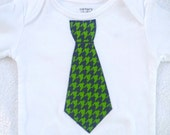 Tie Bodysuit Navy and Green Houndstooth