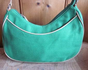 vtg aigner purse, kelly green canvass, handbag, etienne aigner