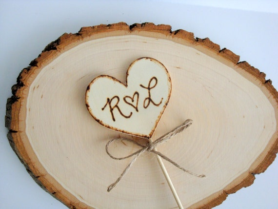 Rustic cake toppers, wooden heart bride and groom initials, custom, personalized
