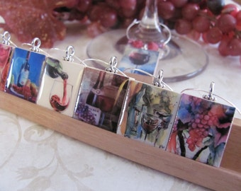 WINE LOVERS  Reversible Scrabble Wine Charm   Set of 8