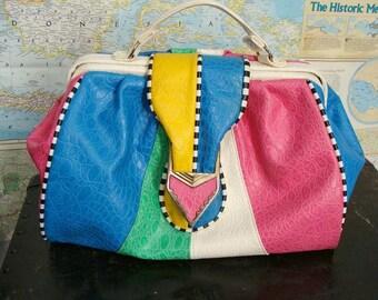 TEMPORARILY REDUCED was 38.88 vintage 80s Retro Multi Color Block Pastel Patchwork Purse Tote Handbag
