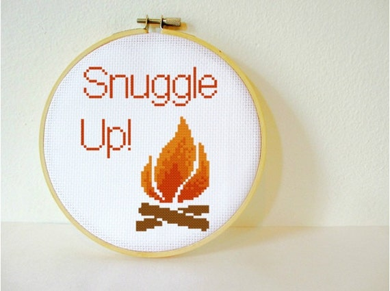 Counted Cross stitch Pattern PDF. Instant download. Cosy Campfire. Includes easy beginners instructions.