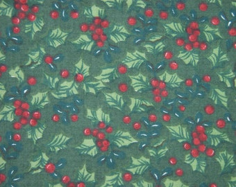 Vintage 1970s fabric in highquality unused cotton with red/ green printed berries pattern on dark olive green bottomcolor