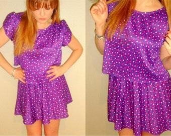 SALE -80s purple confetti dress