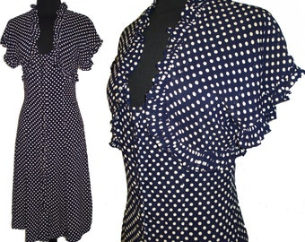 Vintage 1940s Dress Navy Blue Polka Dots Rockabilly Deco Garden Party Swing Bombshell Pinup Cocktail Career Mad Man