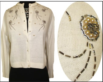 Vintage 1950s Sweater Faux Pearls Seed Beads New Look Rockabilly Mad Men Garden Party Couture